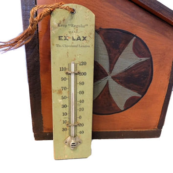 Vintage Ex Lax Advertising Thermometer 1920s Wood Painted