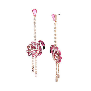 STATEMENT CRITTERS FLAMINGO LINEAR EARRINGS: Betsey Johnson