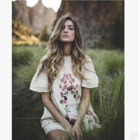 """Free People"" Fashion Retro Lace Stitching Floral Embroidery Short Sleeve Mini Dress"