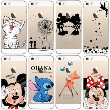 For iPhone 5 5S Case Cute Mickey & Minnie Kiss Soft TPU Silicone Case for Apple iPhone 5S SE Phone Back Cover Transparent Fundas