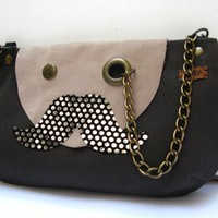 piiqshop - Market Place - Mr. Polka Dotted Mustache with Monocle Brown Cotton Cross Body Clutch Purse with Nubuck Leather Flap Adjustable Detachable Faux Suede Strap