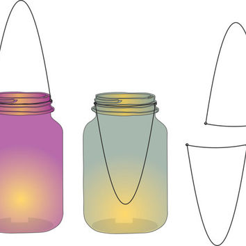 Lantern clipart, mason jar clipart, colored glass mason jar lanterns that light up 12 colored lamps for digital scrapbook elements