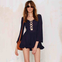 Cutout Front Sleeve Ruffled Dress