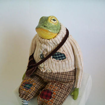 Mr. Frog, Art doll, OOAK  Doll, Interior Art Doll, Frog Doll, Collectible Doll