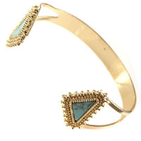 gold turquoise triangle bracelet bangle cuff stackable boho