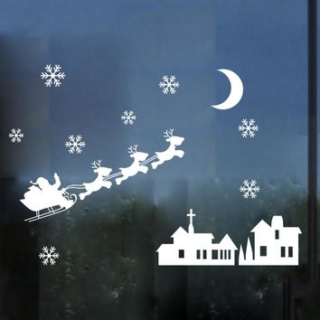 christmas decorations for home Christmas Snowman Snowflake Decoration Decal Window Sticker
