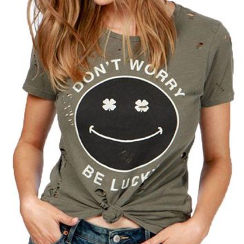 DCCKAB3 Lucky Brand Don't Worry Be Lucky Tee Dark Olive