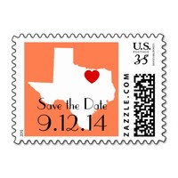 White and Coral Texas Save the Date Stamps
