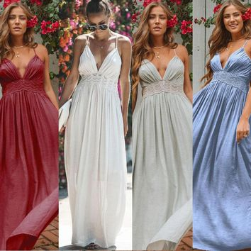 Women Sexy V neck Tunic Tank Dress Bridesmaid Maxi Party Dress Prom Gown