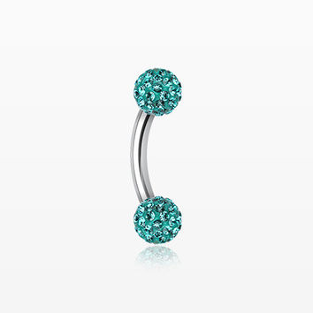 Multi-Gem Sparkle Curved Barbell Eyebrow Ring