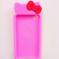 Hello Kitty Cute Bow Silicone Case Cover for Apple Itouch 4 4G 4th - Sharp Pink