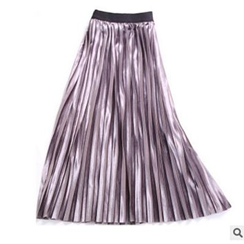 New Autumn Winter High Waisted Skinny Female Gold Velvet Skirt Pleated Skirts Women Ankle Length Party Club Ladies Saia Fenimia