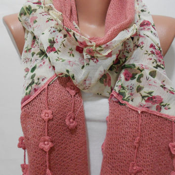 Rose Pink Floral Scarf Shawl, Flower Pattern Cowl Scarf with, Gift For Mom For Her, ScarfClub