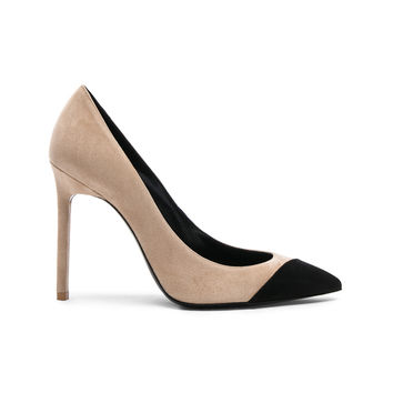 Saint Laurent Suede Anja Cap Toe Pumps in Desert & Black | FWRD