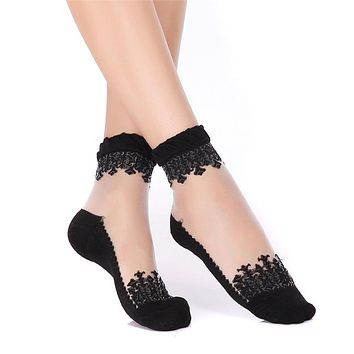 1 pair Popular Style Women Summer Soft Ultrathin Transparent Crystal Lace Elastic Invisible Socks Ruffle Low Cut Ankle Sock