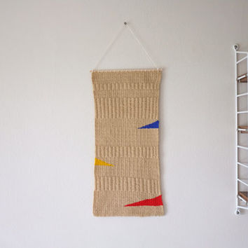 """Hand Woven Wall Hanging - """"Primary"""" - 8"""" x 17"""""""