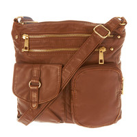 Brown Faux Leather Hudson Crossbody