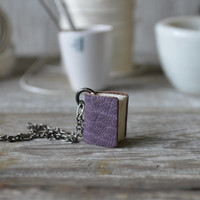 Small Book Necklace: Bookbinder's Purple Leather by Peg and Awl
