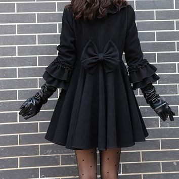 women's Princess style cute bow Fitted Wool  Coat jacket black dy02 S-XL