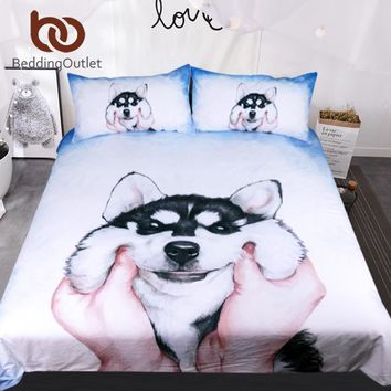 BeddingOutlet Husky Puppy Bedding Set Queen King Watercolor Duvet Cover With Pillowcases Bed Set for Kids Animal Bedclothes 3pcs