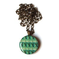 Palm Tree Necklace - FREE shipping to USA round 1 inch resin pendant charm jewelry sunny summer fun florida green cute spring domed trees