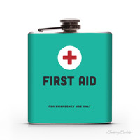 First Aid- 6oz or 8oz Liquid Hip Flask