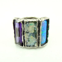 Silver Ring with Opal, Roman Glass and Purple CZ Ring Hadas 1951