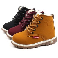 1 Pair Kids Winter Leather Plush Shoes Boys Toddler Boots Fashion Martin Boots For 1-5 Ages Outdoor Girls Boots Shoes
