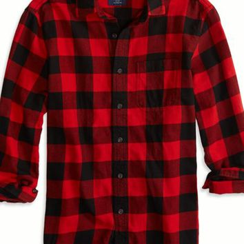 AEO 's Factory Plaid Flannel Shirt