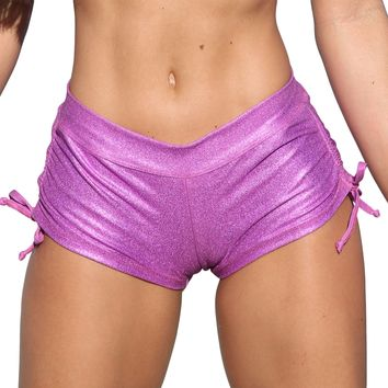 Pink Metallic Denim Tie Side Cheeky Shorts