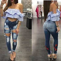 Flower Embroidery Holes Rough Slim Long Jeans