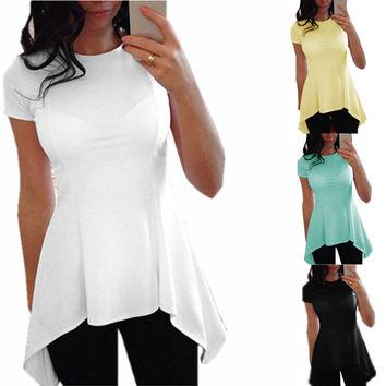 2016 Summer Style Women Blouse Fashion O-neck Short Sleeve Sexy Blusas Peplum Waist Slim Black White Tops Shirts Plus Size S-4XL