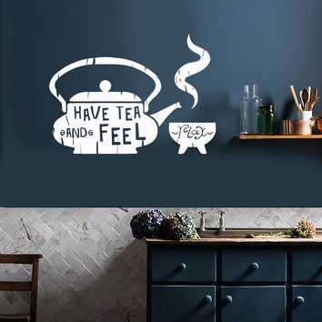 Vinyl Wall Decal Kitchen Quote Tea Teapot Cafe Teahouse Stickers Unique Gift (ig3607)