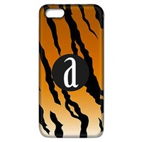 Tiger Stripe Print Phone Case with Initial
