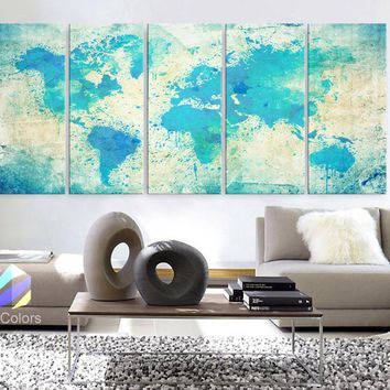 "XLARGE 30""x70"" 5 Panels Art Canvas Print Original Watercolor Map world Extra large panel Wall decor Home Office interior (framed 1.5"" depth)"