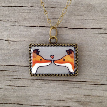 Fox Love - Hand Painted Necklace, Original Watercolor Painting, Valentine Heart, Valentines Day