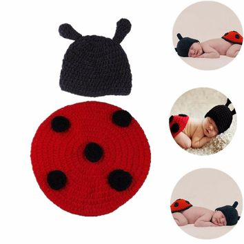 0-6Months Cute 3D Animal Cosplay Infant Beanie Red and Black Knitted Crochet Clothing Cloak Baby Suit Photography Custume