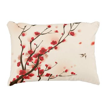 Oriental Style Painting Plum Blossom in Spring Accent Pillow