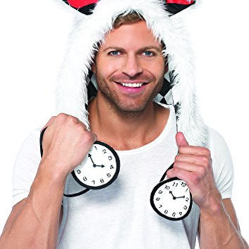 Leg Avenue Rabbit Furry Hood with Clock Ties Costume Accessory, White, One Size