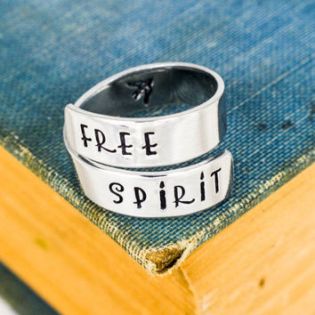 Free Spirit Ring - Bird - Adventure - Adjustable Aluminum Wrap Ring