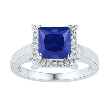 10kt White Gold Womens Princess Lab-Created Blue Sapphire Solitaire Ring 2-1/2 Cttw