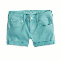 AEO Women's Denim Midi Short (Turquoise)