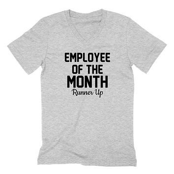 Employee of the month runner up gift for coworker funny graphic  V Neck T Shirt