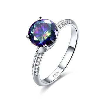 Merthus Classic 3ct Mystic Rainbow Topaz Cocktail Promise Engagement Ring 925 Sterling Silver