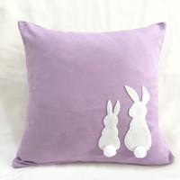 Two Cute Rabbits Pom Pom Tail Lavender Decorative Pillow Cover. Light Purple Bunny Cushion Cover. Children Room Pillow Case. Nursery Decor