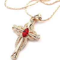 FC Rose Gold Plated Cross Pendant Crystal Red Necklace