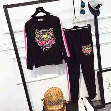 DCCKH3L Kenzo' Women Casual Multicolor Stripe Letter Tiger Head Pattern Long Sleeve Trousers Set Two-Piece Sportswear