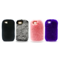 Luxury Design Cute Rabbit Fur Phone Case Fashionable Fluffy Warm Mobile Phone Protective Case Cover Suitable for iPhone