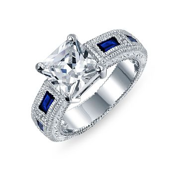 3CT Princess AAA CZ Blue Baguette Engagement Ring Silver Plate Brass