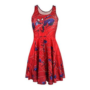 Adult Women Red Spiderman Web Costume Reversible Skater Pleated Dress Female Spidergirl Fancy Dress Cosplay Carnival Costumes